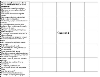 T'es branché Level 3 Unité 1B Illustrated Bingo