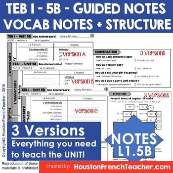 T'es branche guided notes Vocab List Structure Level 1 TEB 1 Unit 5B - No Prep!