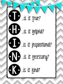 T.h.i.n.k. Classroom Management Poster *Freebie*