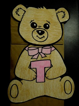 T is for Teddybear paper bag puppet