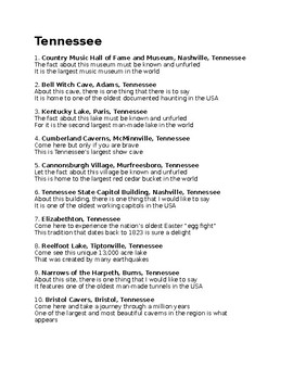 T is for Tennessee state facts