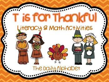 T is for Thankful: Literacy and Math Activities