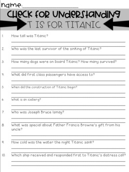T is for Titanic Guided Read Aloud