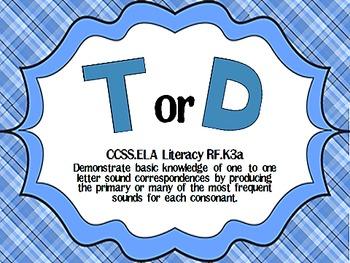 T or D  Begininning Sound Sort CCSS ELA-Literacy.RF.K.3a