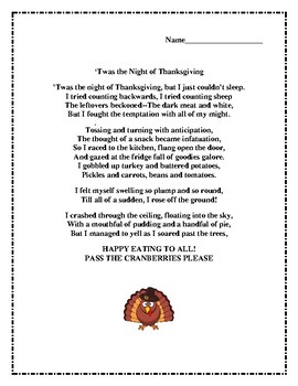 T'was the Night Before Thanksgiving Poem