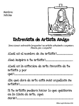 Artist Friend Interview Printable