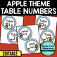 EDITABLE TABLE NUMBERS for APPLE THEME by CLUTTER FREE CLASSROOM