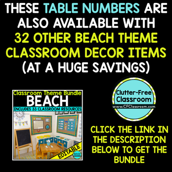 EDITABLE TABLE NUMBERS for BEACH THEME by CLUTTER FREE CLASSROOM