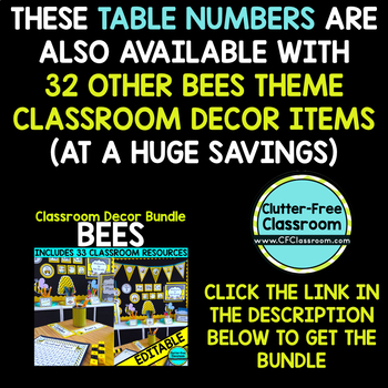 EDITABLE TABLE NUMBERS for BEE THEME by CLUTTER FREE CLASSROOM