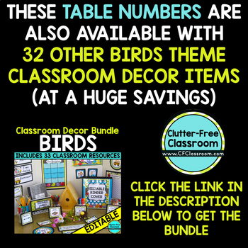 EDITABLE TABLE NUMBERS for BIRD THEME by CLUTTER FREE CLASSROOM