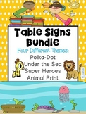 TABLE SIGNS {Four Different Themes}
