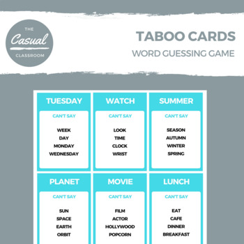TABOO CARDS WORD GUESSING GAME