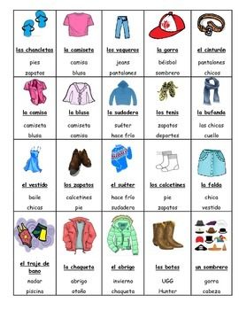 Spanish Game: clothing/ la... by Jerry's Spanish Games and More ...