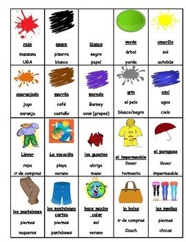 Spanish Game:  clothing/ la ropa  (likeTABOO)