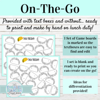 TACO TUESDAY EDITABLE TEMPLATES: Vocabulary / Grammar Game boards!
