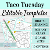 EDITABLE Game Templates Taco Tuesday