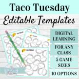EDITABLE Spanish Activity Templates | Taco Tuesday Digital or Print Game