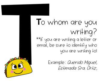 TACOS Writing Reminders **Editable**