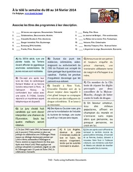 TAD A202 - Tasks using Authentic Documents - French - TV Genre Matching