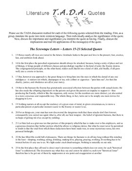 TADA Discussion Questions - The Screwtape Letters 15-23