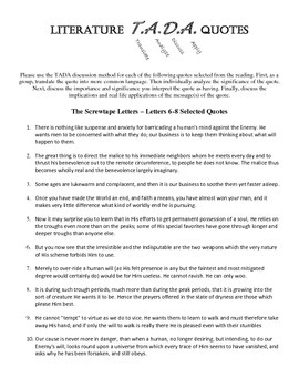 TADA Discussion Questions - The Screwtape Letters 6-8