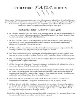 TADA Discussion Questions - The Screwtape Letters 9-14
