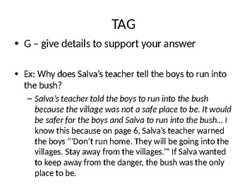 TAG Writing Practice for Short Answers