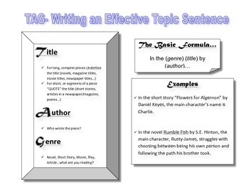 TAG- Writing a Topic Sentence