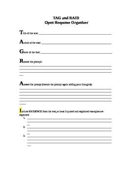 TAG and RAID Open Response Organizer