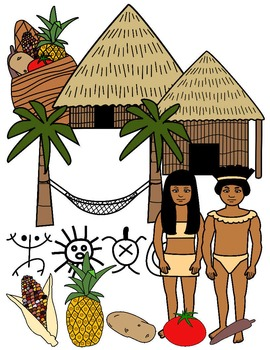 TAINO INDIANS CLIP ART * COLOR AND BLACK AND WHITE