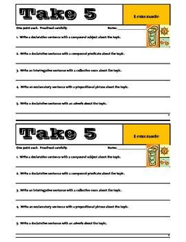 TAKE 5 - Set #1 - Grammar & Sentence Writing Skills - Common Core Essentials
