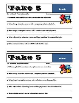 TAKE 5 - Set #2 - Grammar & Sentence Writing Skills - Common Core Essentials