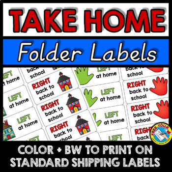 TAKE HOME FOLDER LABELS IN COLOR AND BW