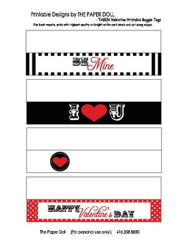 TAKE Valentine Printable Treat Bag Labels Toppers