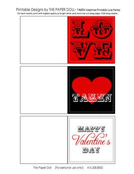 TAKEN Valentine Printable Folding Gift Note Cards