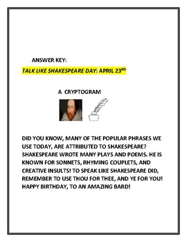 TALK LIKE SHAKESPEARE DAY- APRIL 23RD: A FUN CRYPTOGRAM