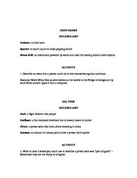 TALL TALE UNIT - Questions, Activities and Rubric for reading & writing classes