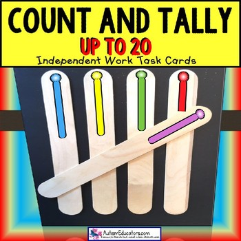 """TALLY MARKS Task Cards COUNT UP TO 20 """"Task Box Filler"""" Special Education/Autism"""
