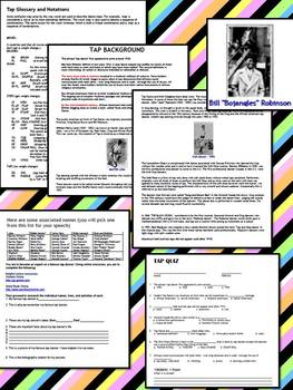TAP DANCE AND BALLET: DANCE NOTES, RUBRIC, TERMS, QUIZZES, AND SPEECH ASSIGNMENT