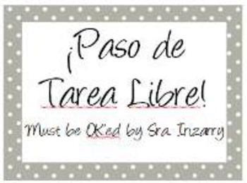 TAREA LIBRE Free homework pass!