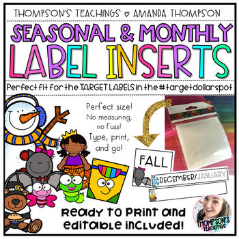 TARGET Adhesive Label Inserts- Seasonal/Monthly *EDITABLE AND READY TO PRINT