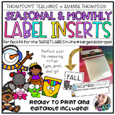 TARGET Adhesive Label Inserts Seasonal/Monthly