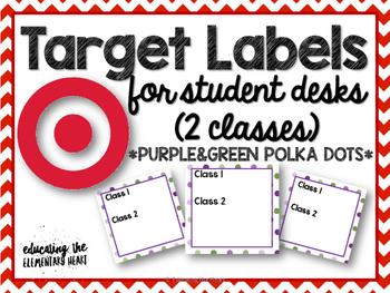 TARGET Desk Labels - Polka Dots! (For 2 Classes)