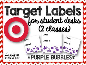 TARGET Desk Labels - Purple Bubbles! (For 2 Classes)