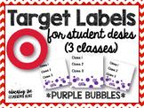 TARGET Desk Labels - Purple Bubbles! (For 3 Classes)