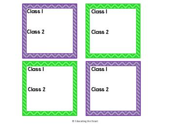 TARGET Desk Labels - Purple & Green Chevron (2 classes)