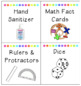 Classroom Supplies/Math Bin Labels fitted for TARGET ADHESIVE POCKETS