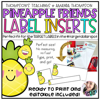 TARGET Adhesive Label Inserts- Pineapple Friends *EDITABLE