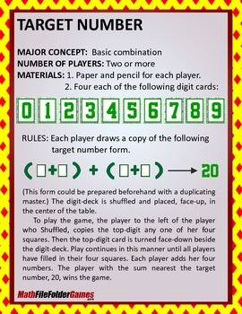 TARGET NUMBER: Order of Operations Game