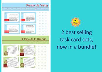 TARJETAS DE TAREA, BEST SELLERS BUNDLE! Punto de Vista & El Tema La Historia